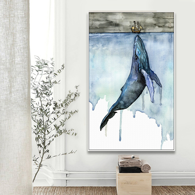 Whale Modern Porch Background Decoration Canvas Print