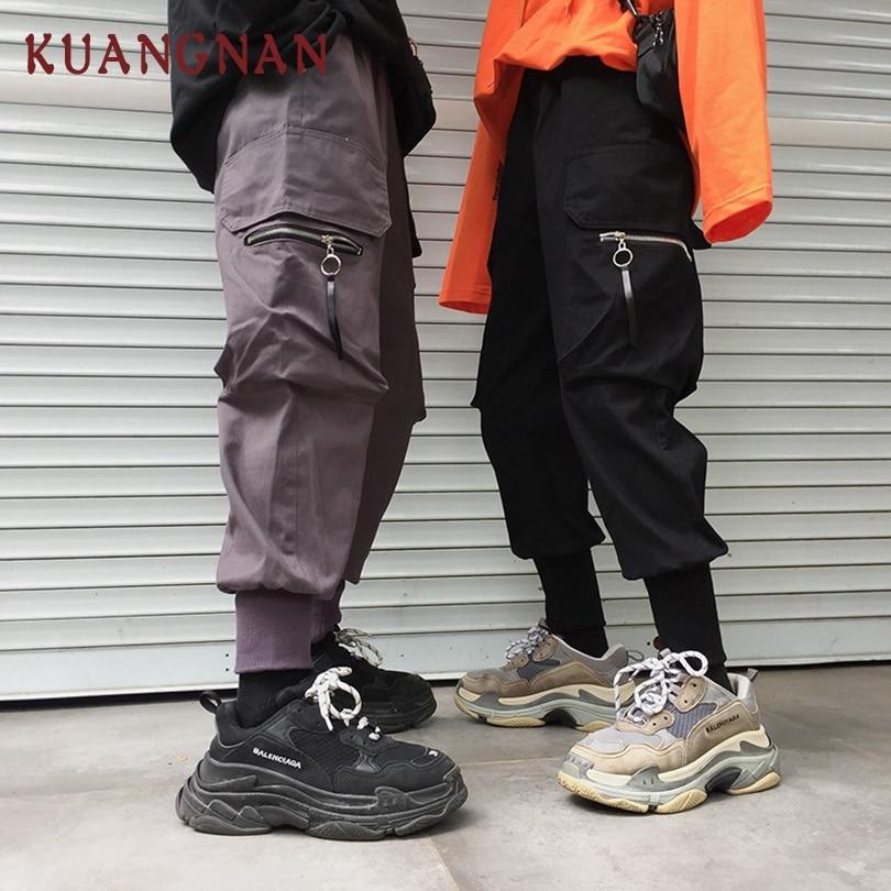 KUANGNAN Ankle-Length Cargo Pants Men Jogger Japanese Streetwear Joggers Men Pants Hip Hop Trousers Men Pants 5XL 2019 Spring