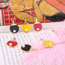 10pcs Pearl Table Tennis Racket Design Enamel Charms Pendants Sport Series Floating DIY Bracelet Hair Jewelry Accessories FX088