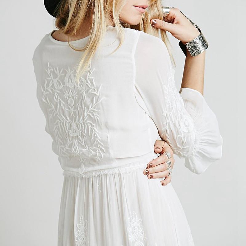 Zeer Bohemian Borduren Vrouwen boho jurk Lange maxi Jurk Zwart witte  IF56