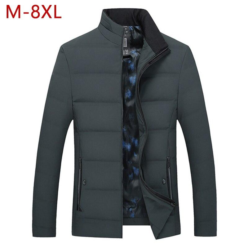 M-8XL grande taille hommes décontracté canard vers le bas épais veste automne hiver mâle coupe-vent épaissir chaud vêtements parkas d'extérieur varsité manteau CF22