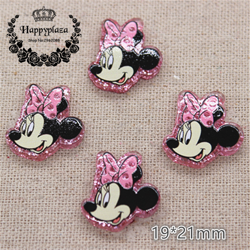 20pcs Kawaii Resin Glitter Pink Small Minnie Flatback Cabochon DIY Hair Bow Center Scrapbooking Accessories,19*21mm