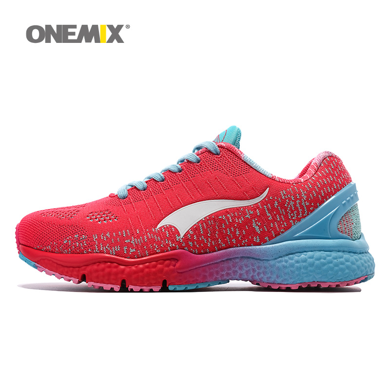 ONEMIX Woman Running Shoes For Women  Athletic Trainers Red Zapatillas Tennis Sports Shoe Outdoor Walking Sneakers Free Ship 5.0