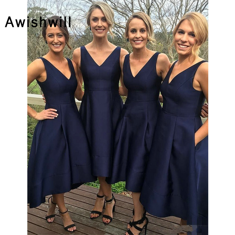 Custom-made V-neck Satin High Low Bridesmaid Dress With Pockets Sleeveless Navy Blue Maid Of Honor Dresses For Weddings