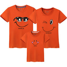 Smiling Face Shirt Short Sleeves Matching Clothes New 2018 Cotton Family Matching T Shirt Fashion Family Outfit Set Tees Tops