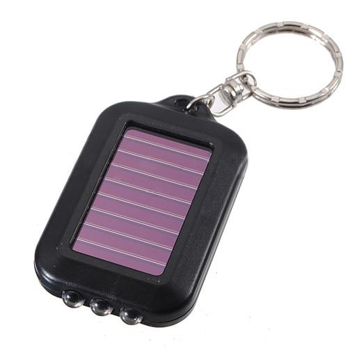 10X Mini Solar light 3 led flashlight Keychain Solar Power rechargeable night Light Lamp for Hiking travel camping outdoor Black solar powered 3 led white flashlight keychain silver