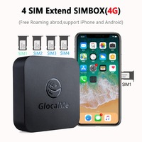 No Roaming 4G SIMBOX Multi 4 SIM Dual Standby Adapter for iOS iPhone Android No Need Carry Work with WiFi Data to Make Call SMS