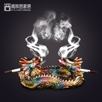 Simple Modern Chinese Lidded Ashtray Decoration Personality Retro Resin Decoration Crafts Dragon Office
