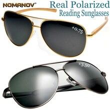Oversized Al-mg Men Women Polarized Reading Sunglasses +0.75 +1 +1.5 to +4 High Strength Anti-corrosion Spring Hinge Pilot Frame