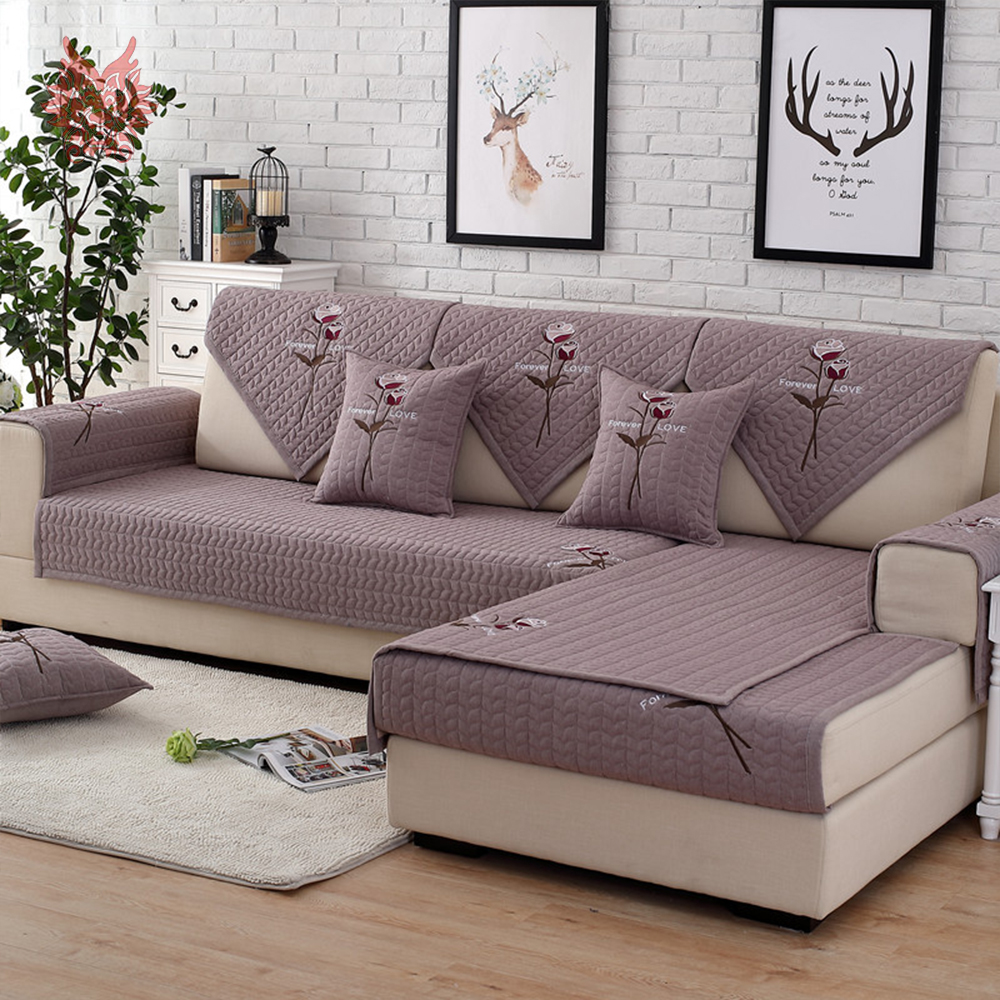 quilted embroidery sectional sofa couch slipcovers furniture protector cotton sprintz sofas grey red rose floral cover for living room fundas de covers cama sp5285