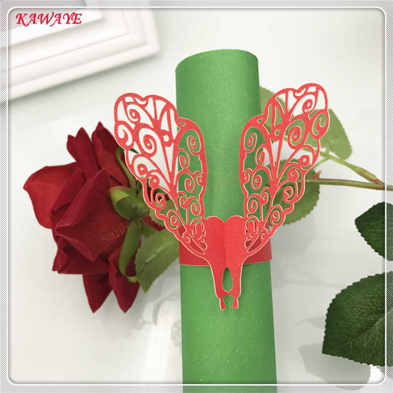 50 sztuk do cięcia laserowego serwetka pierścień romantyczny ślub strona dekoracji paw ręcznik klamra Birthday Party serwetka klamra 5ZM08