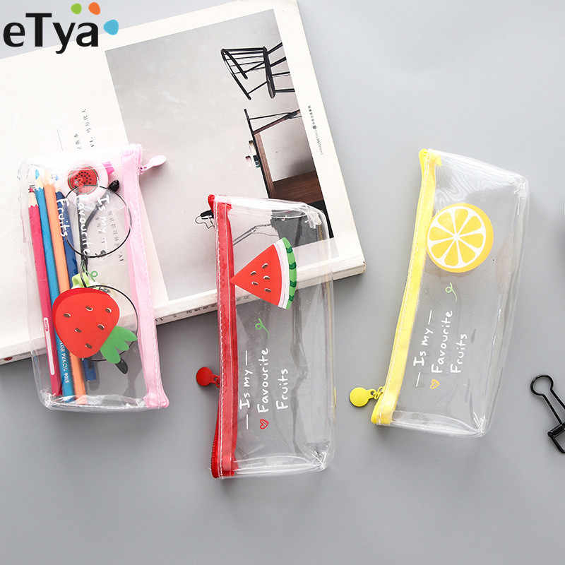 eTya Women Small Transparent Clear Makeup Bag PVC Zipper Cosmetic Organizer Bag Student Students School Pencil Bag Case Pouch