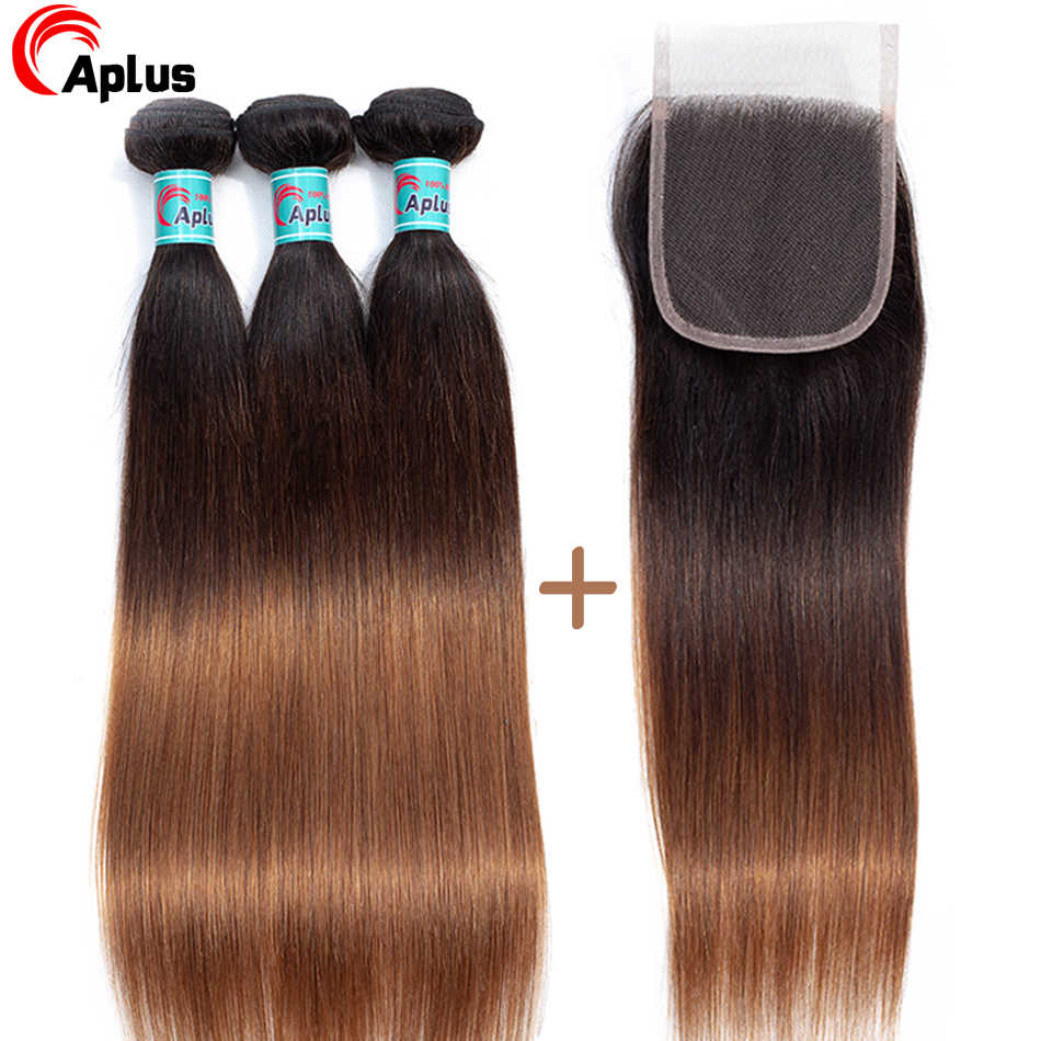 Aplus Hair Malaysian Straight Hair Ombre Bundles With Closure Colorful Human Hair Non Remy Buy 3 Bundles Get One Free Closure
