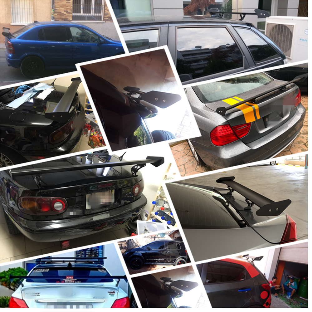 110cm 43 3 quot Black Auto Car Hatchback Spoiler Universal GT Rear Trunk Wing Racing Spoilers Aluminum Drill Hole in Spoilers amp Wings from Automobiles amp Motorcycles