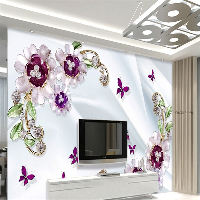 Beibehang Wall Paper Custom Wallpaper Wall Stickers Large Mural Romantic Diamond Relief Flowers Background Wall Papel De Parede