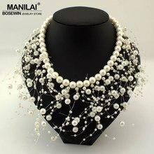 23c415bd23c7 MANILAI de moda perlas de imitación borla Collar de las mujeres babero de joyería  Collar gargantilla boda declaración collares y.