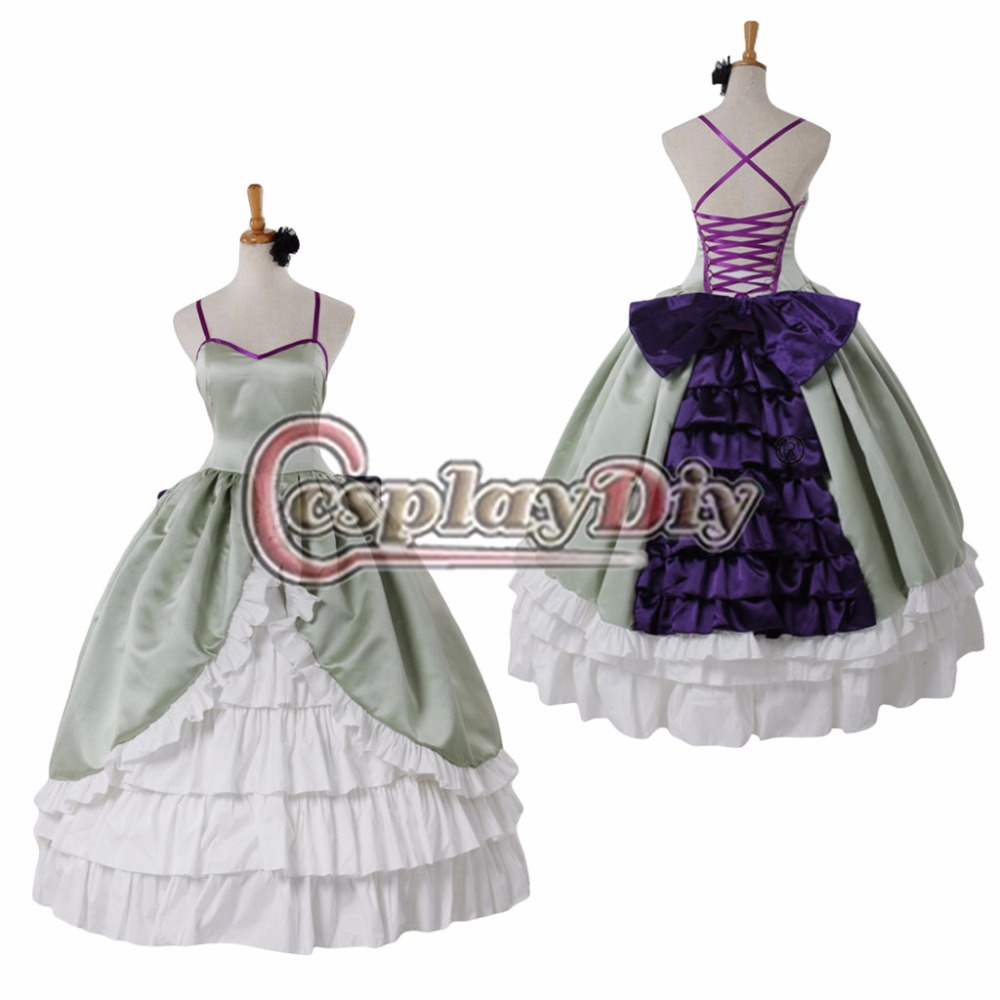 Custom Made Green Medieval Gothic Renaissance Ball Gown Dress Adult Halloween Carnival Party Costume D0422