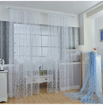 Europe Solid White Flocking Yarn Curtain Window Tulle Curtains For Living Room Kitchen Modern Window Treatments Voile Curtain