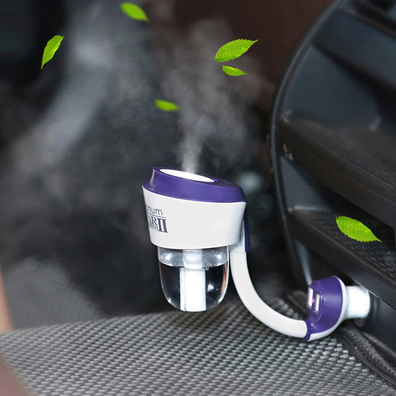 12V Nan Car Humidifier Upgraded Car Steam Air Purifier Freshener Aroma Diffuser Essential Mist Maker Fogger with Car Charger USB wholesale solar energy air humidifier car air purifier with filtration system