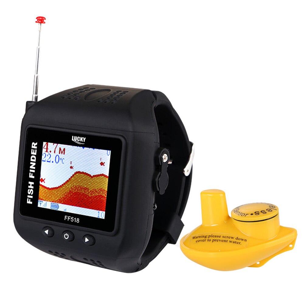 Lucky FF518 Рыболокаторы Водонепроницаемый Fishfinder Беспроводной пульт дистанционного сонара Сенсор часы Тип обнаружения эхо Рыбалка эхолот