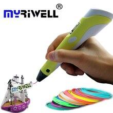 3D Ручка myriwell 2nd поколения LED ЖК-дисплей Дисплей DIY 3D печати ручка искусства 3D ручки для детей рисунок Инструменты высокое качество