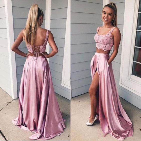 Two Pieces Prom Dress Lace Crop Top Slit Skirt