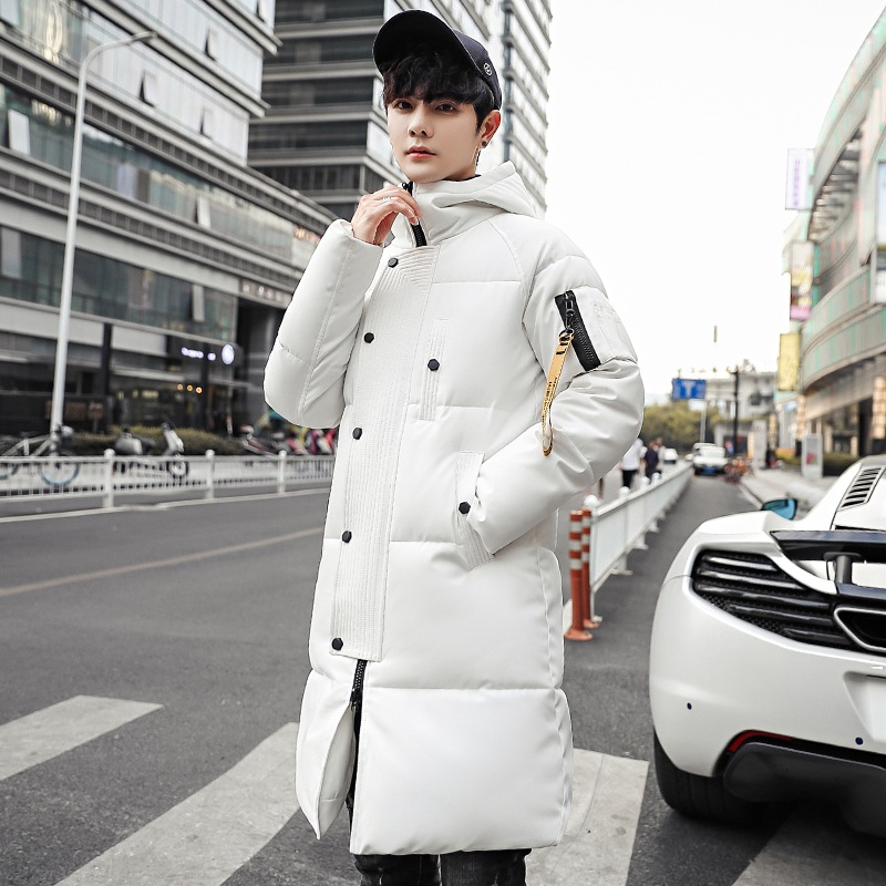 2019 Korean Style Slim Mens Warm Long Parka Solid Casual Winter Long Coat Zipper Oversize Padded Jacket