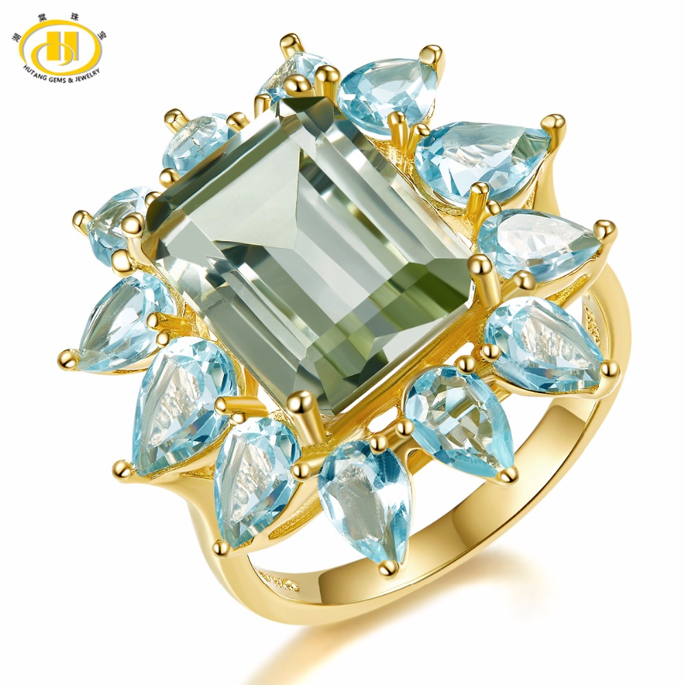 Hutang 9.35ct Natural Gemstone Green Amethyst Blue Topaz Ring Solid 925 Sterling Silver Yellow Gold Fine Jewelry For Women