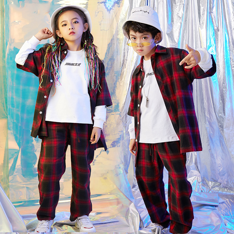 Jazz Dance Costumes Children Performance Costume Plaid Shirt Suit Hip Hop Stage Wear Dance Costumes Kids Clothing DQS1077