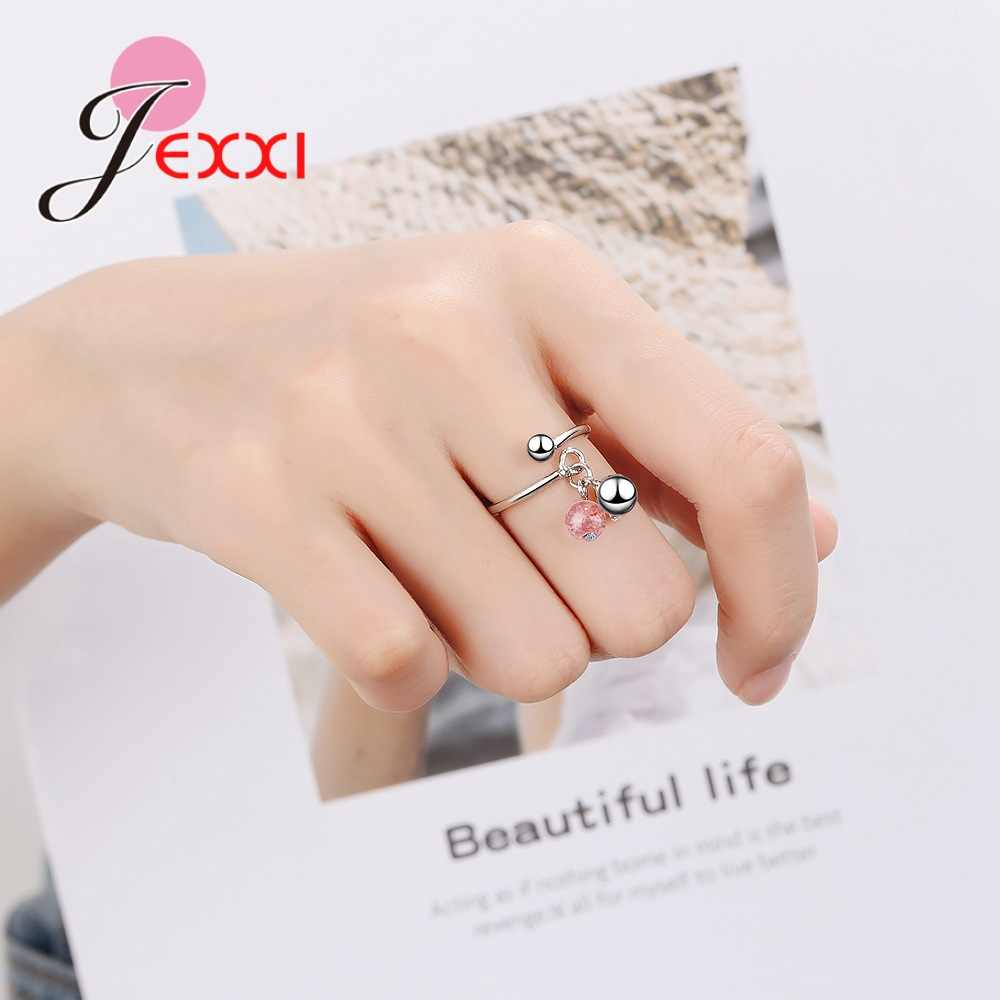 Real Pure 925 Sterling Silver Promise Rings with Lovely Strawberry Crystal Stone Bague for Women Girls Lovely Birthday Gifts
