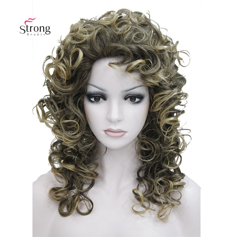 Medium Layers Curly Capless wig Brown with Blonde Highlights Synthetic Hair Wigs for Women