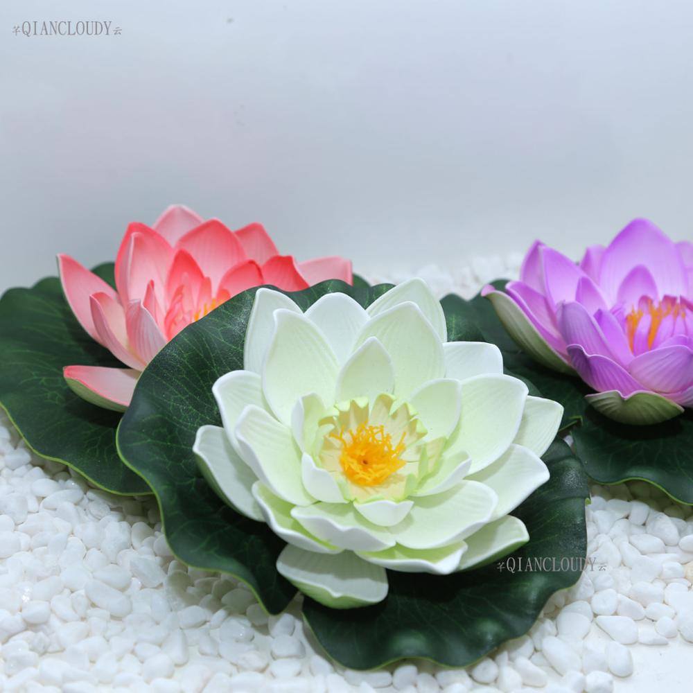 4 Pieces White 17cm Artificial Foam Fake Lotus Flowers Water Lily