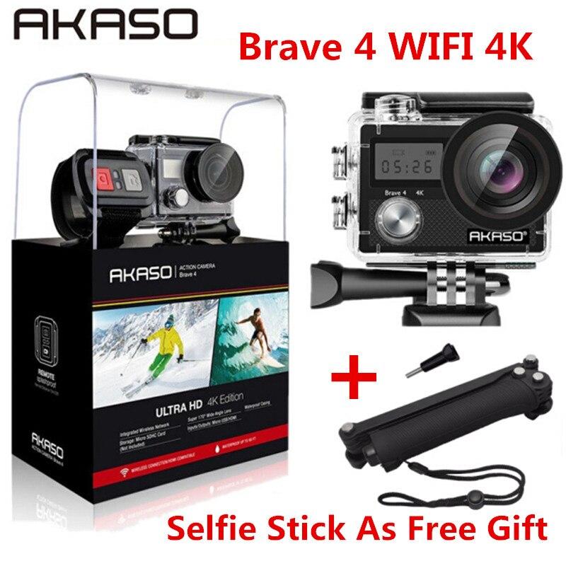 AKASO Brave 4 WIFI 4 K caméra d'action extérieure HD étanche caméscope plongée sous-marine casque de vélo caméra vidéo pour les Sports extrêmes