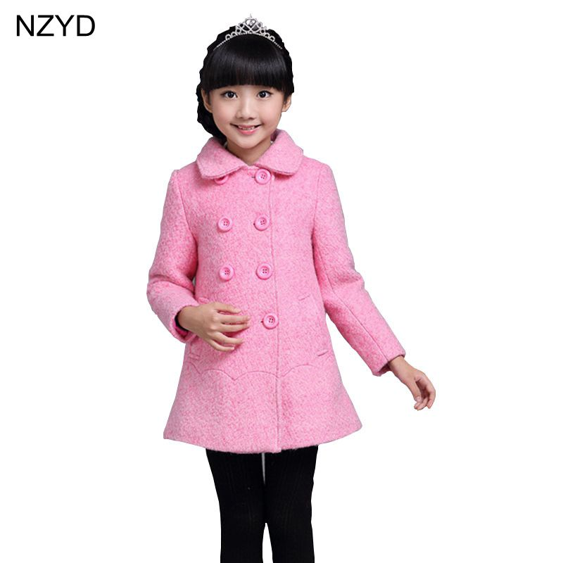 2017 New Fashion Autumn Winter Girl Coat Lapel Pure Color Children Clothes Girls Parka Cuasual Sweet Kids Jacket Outerwear DC655 free shipping 2016 kid girl fashion solid color wind coat outerwear child girl cappa dress jacket spring autumn winter girl coat
