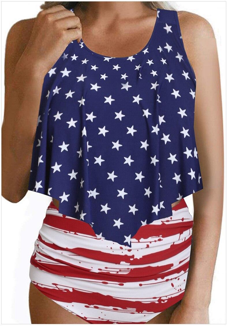 GOZEDDIT femmes Kikinis ensemble USA drapeau Lotus feuille bord bref étoiles sans manches vêtements de sport