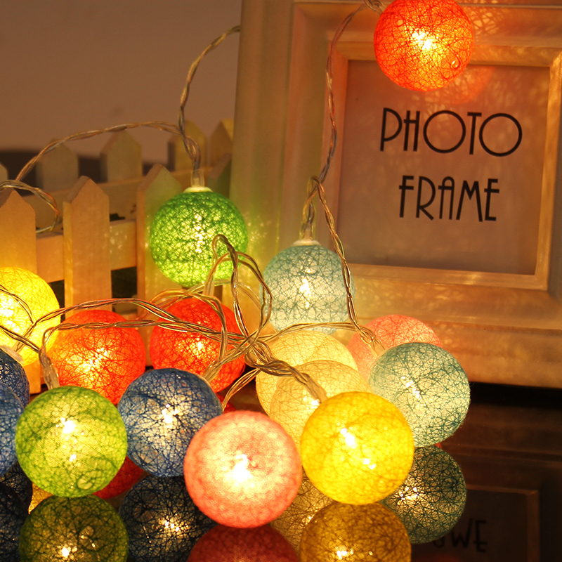 Colorful cotton 2.3 meters cotton ball light string battery box LED nightlights Interior Decoration Lights Fixture