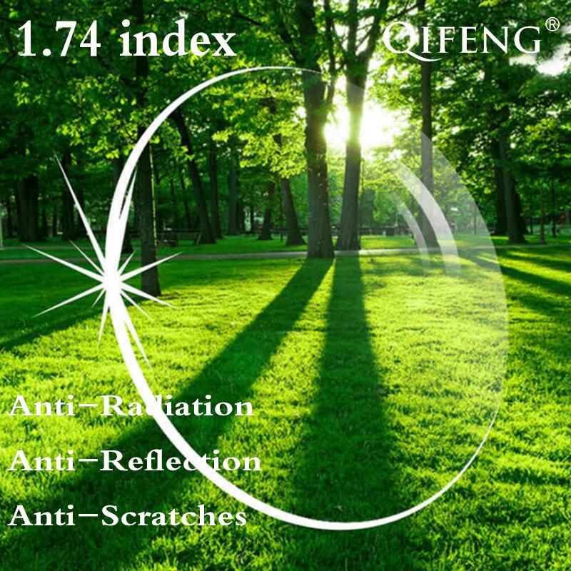 Lentille de Prescription asphérique indice 1.74 CR-39 myopie presbytie lentille dure verres anti-reflets Anti-rayonnement 2 pièces QF135