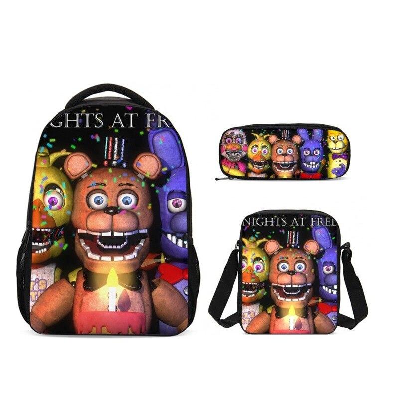 2019 3 pièces/ensemble cinq nuits à Freddy's sac d'école ensemble pour adolescent filles étudiant enfants cartables Mochila enfants ordinateur portable sacs