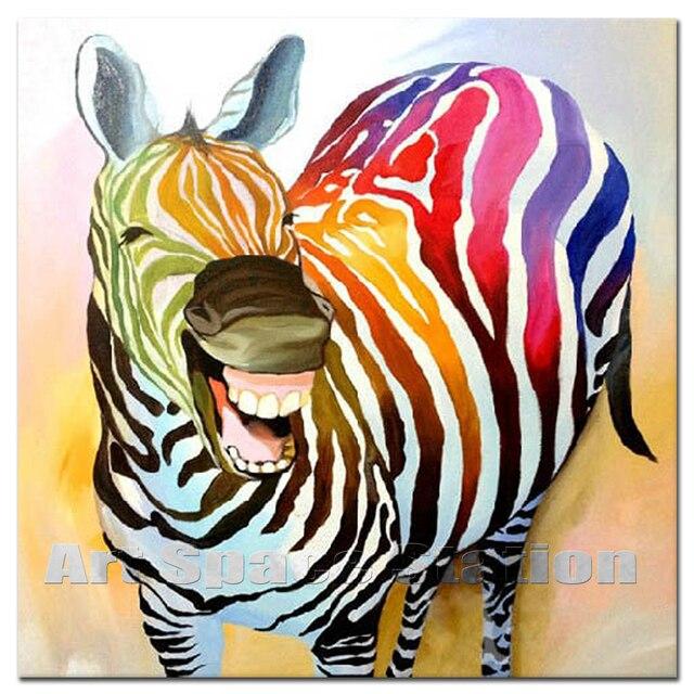 Top Zèbre avec Sourire-Coloré Animaux Abstrait Peinture À L'huile  JS59