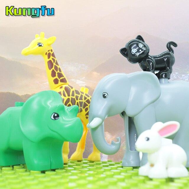 Duploes Série Animal Figuras Modelo Zoológico Grande Partícula Grande Tigre/Leão/Gato/Elepant/Brinquedos Dragão Para crianças brinquedos Presente Das Crianças