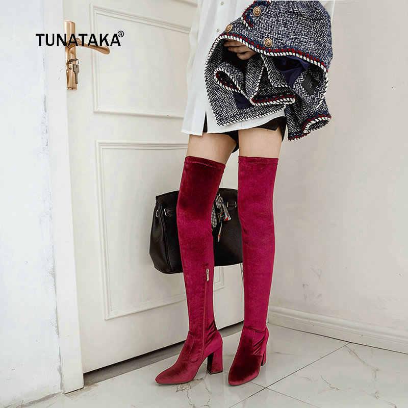 Bayan Kadife Çizmeler Moda Yan Fermuar Diz üzerinde Çizmeler Yüksek Topuklu Kadın Uyluk Yüksek Çizmeler Büyük Sz Kırmızı bej Siyah Mavi