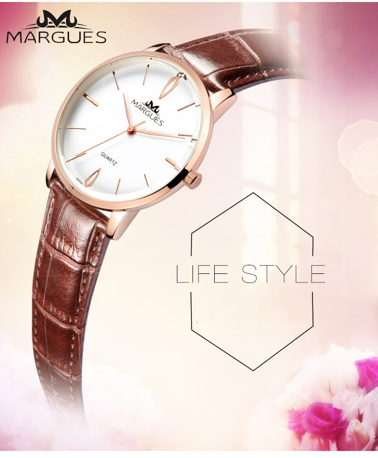 New MARGUES Brand Quartz Watch For Lovers Simple LOGO Fashion Couple Watches Casual Waterproof Leather Strap Clock 022