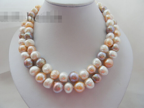 Free shipping@@@@@ A> 2Strands 14mm Baroque White Pink Lavender Freshwater Pearl MABE Clasp Necklace aFree shipping@@@@@ A> 2Strands 14mm Baroque White Pink Lavender Freshwater Pearl MABE Clasp Necklace a