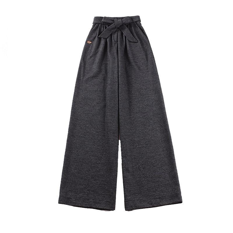 le palais vintage 2018W Warm Wool Blend Wide Leg Pants Women Slim High Rise Sequined Logo Decor Adjustable Belt Thicken Pants
