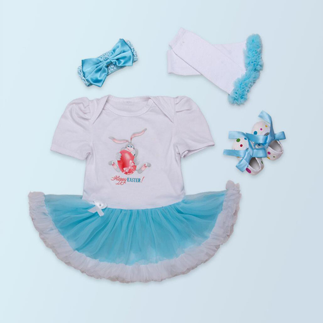 4PCs per Set Short Sleeves Blue Baby Girl Happy Easter Tutu Dress Leggings Shoes Headband 0-24Motnths