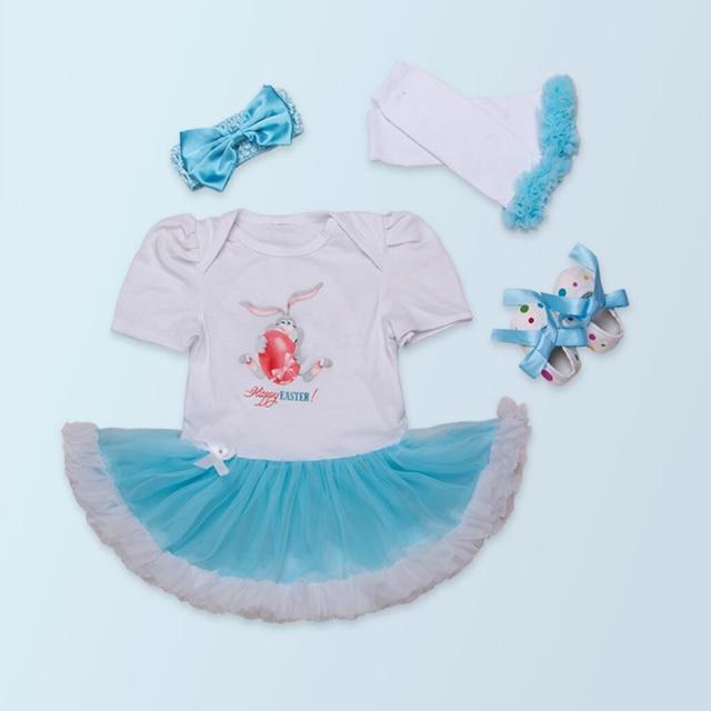 4PCs per Set Short Sleeves Blue Baby Girl Happy Easter Tutu Dress Leggings Shoes Headband 0-24Motnths