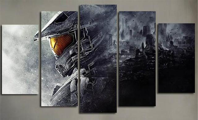 Us 14 85 5 Off 5 Piece Wall Painting Canvas Prints Posters Halo 5 Guardians Video Game Modular Art Picture Print Wall Art Home Decor In Painting