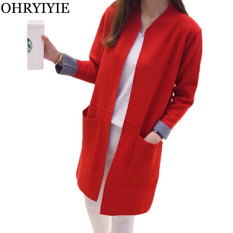 OHRYIYIE Women Sweater Long Cardigan 2018 New Fashion Autumn Winter Long Sleeve Loose Knitted Cardigan female Sweaters Long Coat 1