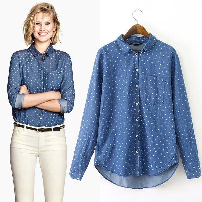 Camisas de mezclilla mujer 2015 de manga larga blusa azul