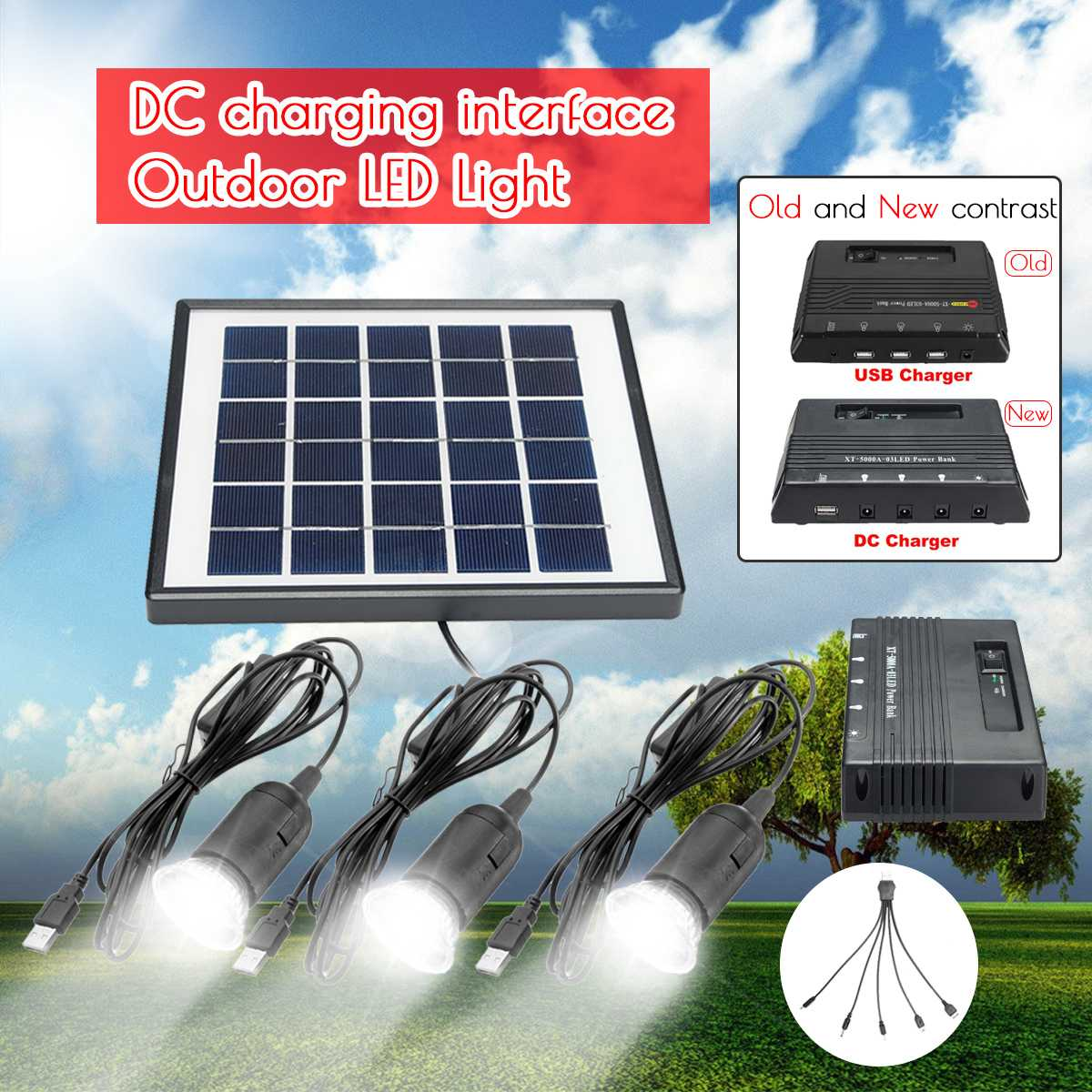 Smuxi 3pcs 1W Solar Lamp LED Garden Light Outdoor Lampe Solaire + 6V 4W Solar Panel + 5000mAh DC Power Bank For Outdoor CampingSmuxi 3pcs 1W Solar Lamp LED Garden Light Outdoor Lampe Solaire + 6V 4W Solar Panel + 5000mAh DC Power Bank For Outdoor Camping